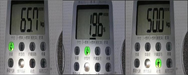 ダイエット3週間経過夕食コントロール始めたが 2度目ダイエット2010年1月29日体重体脂肪筋肉量