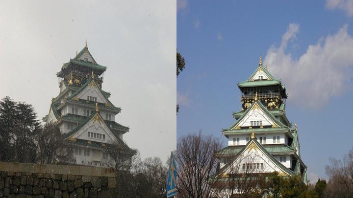 大阪城 雪のち晴れ